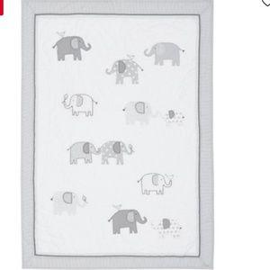 PBK grey elephant nursery quilt